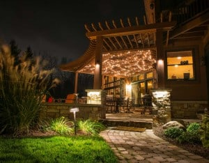Lotus Gardenscapes -- Backyard Landscape -- Stone Deck, Night Lights -- Stone, Wood, Water