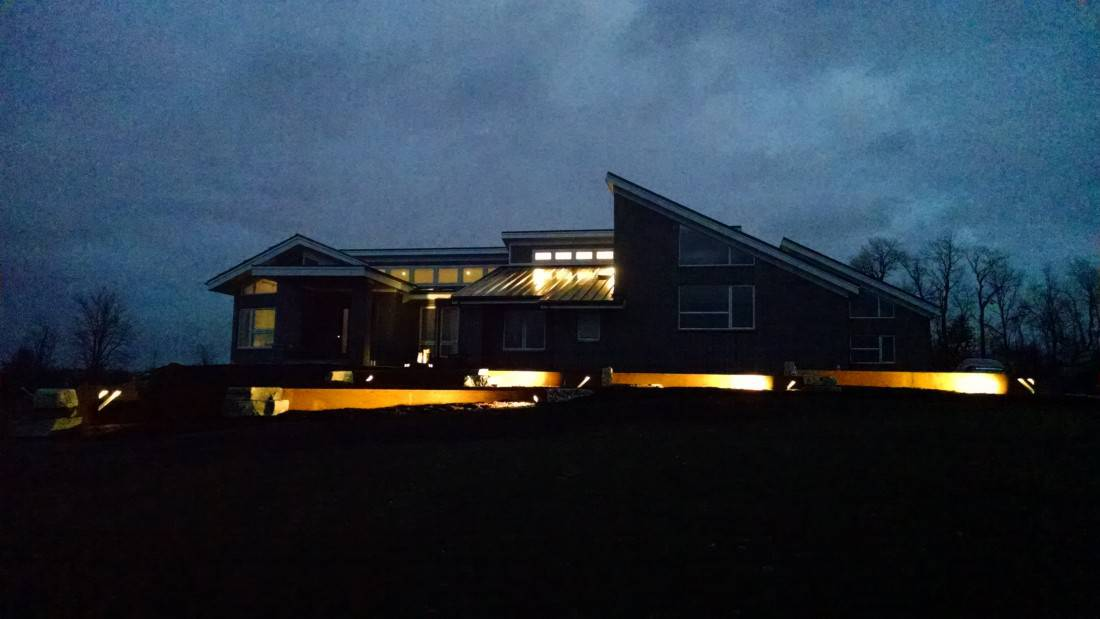 Lotus Gardenscapes -- Welcome to our New Website -- Nighttime Photo of Modern House and Accent Lighting