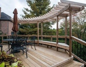 Lotus Gardenscapes -- Woodwork -- Deck with Bench and Sunshade Perimeter