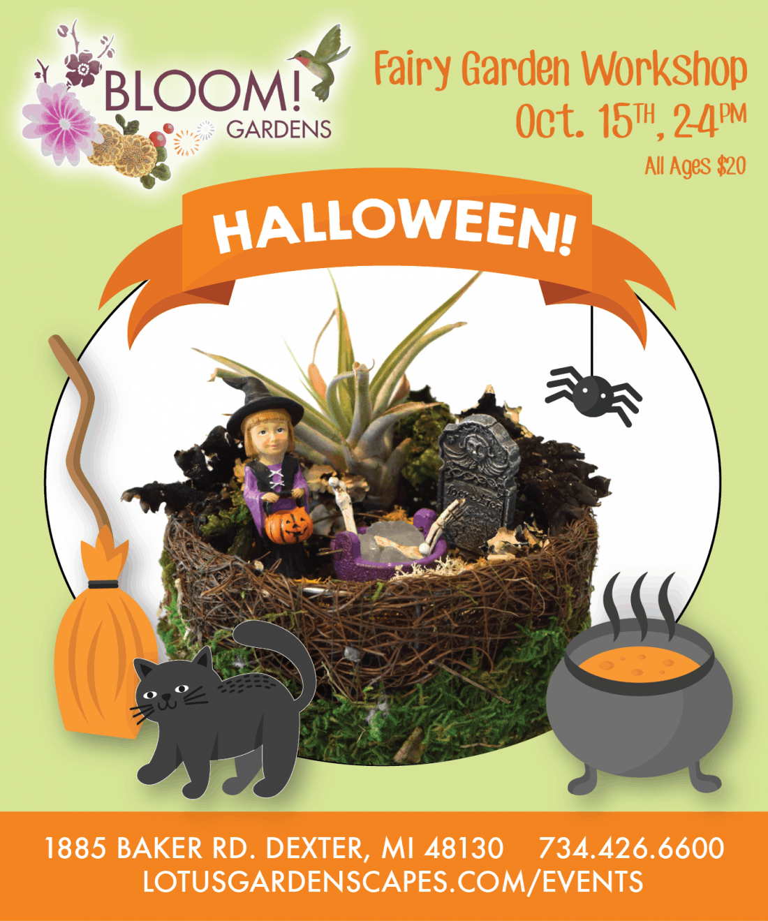 spooky halloween fairy garden workshop