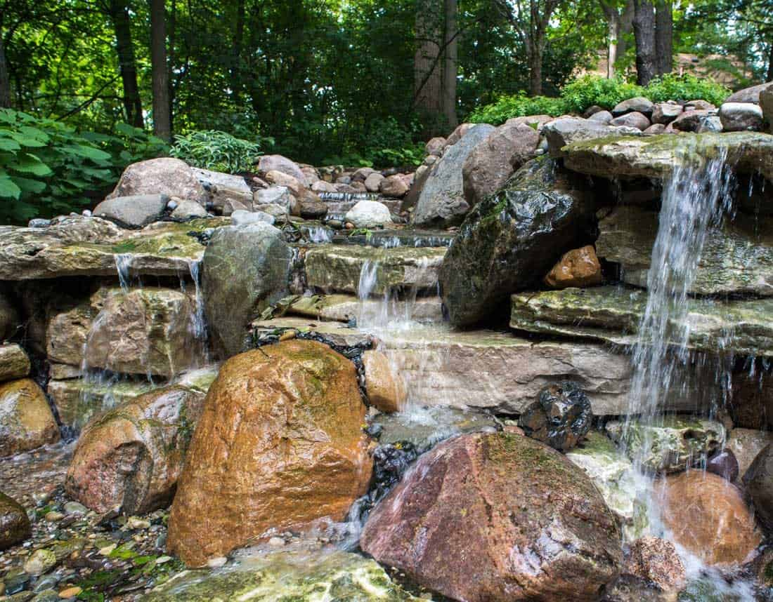 Lotus Gardenscapes -- Waterfall in the Woods -- Waterfall, Detail -- Stone, Water