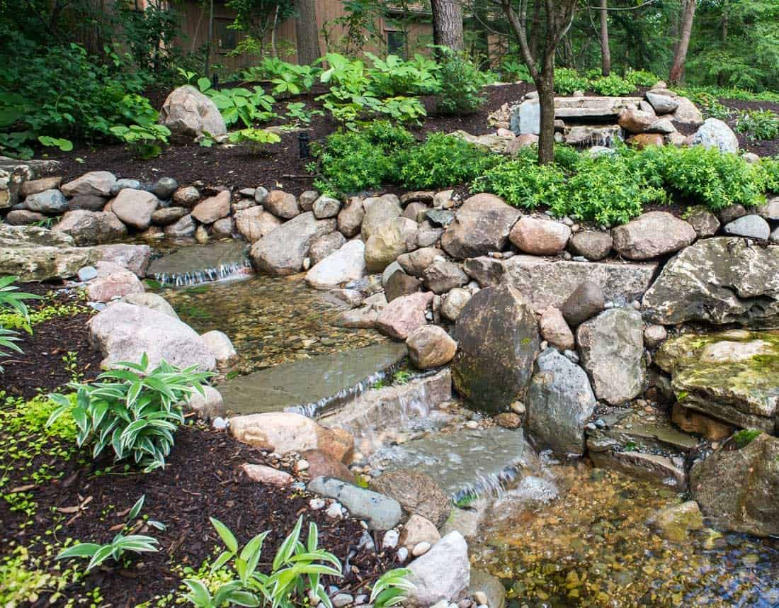 Lotus Gardenscapes -- Waterfall in the Woods -- Terraced Waterfall -- Stone, Water