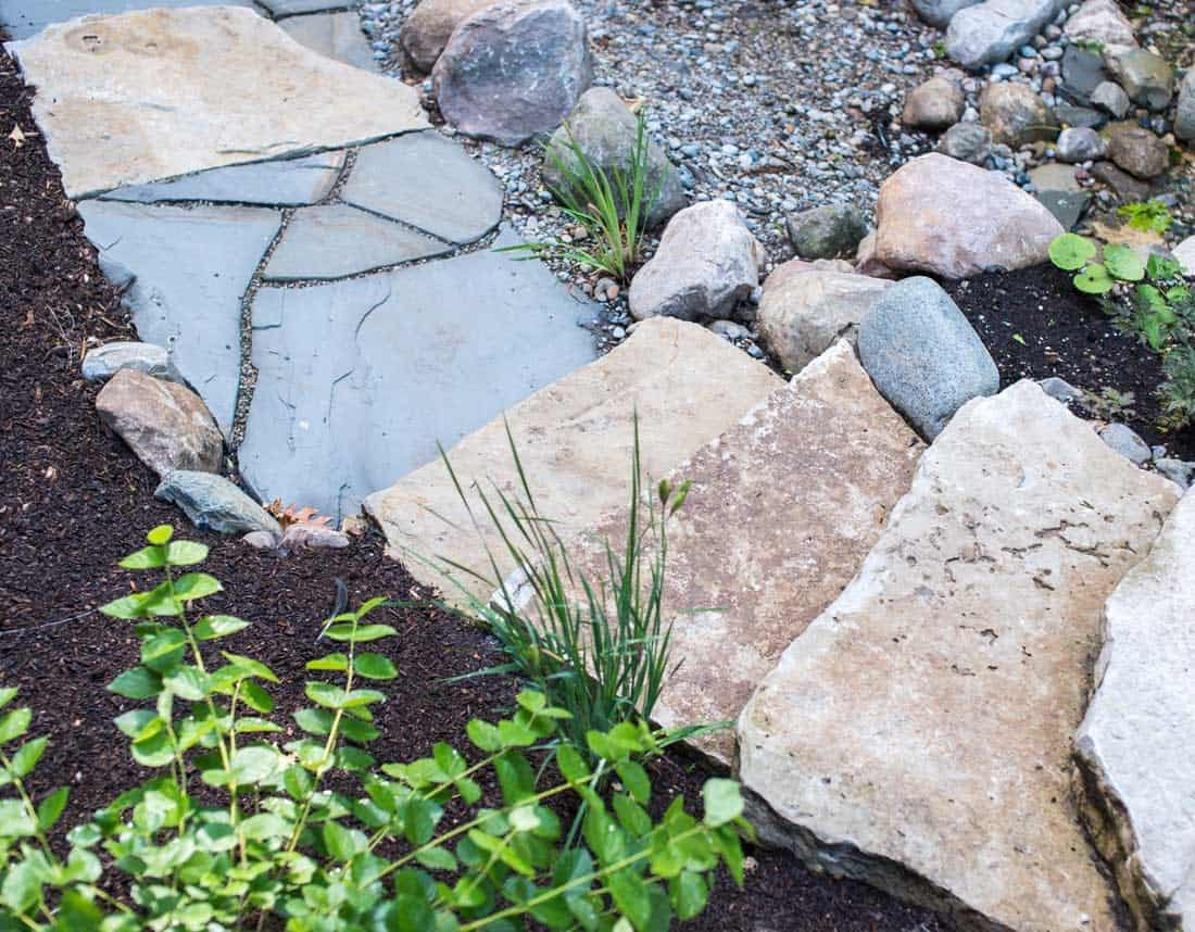 Lotus Gardenscapes -- Waterfall in the Woods -- Stone Path, Detail -- Stone, Water