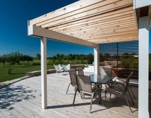 Lotus Gardenscapes -- Contemporary Deck and Pergola -- Pergola and Deck, Perspective -- Wood