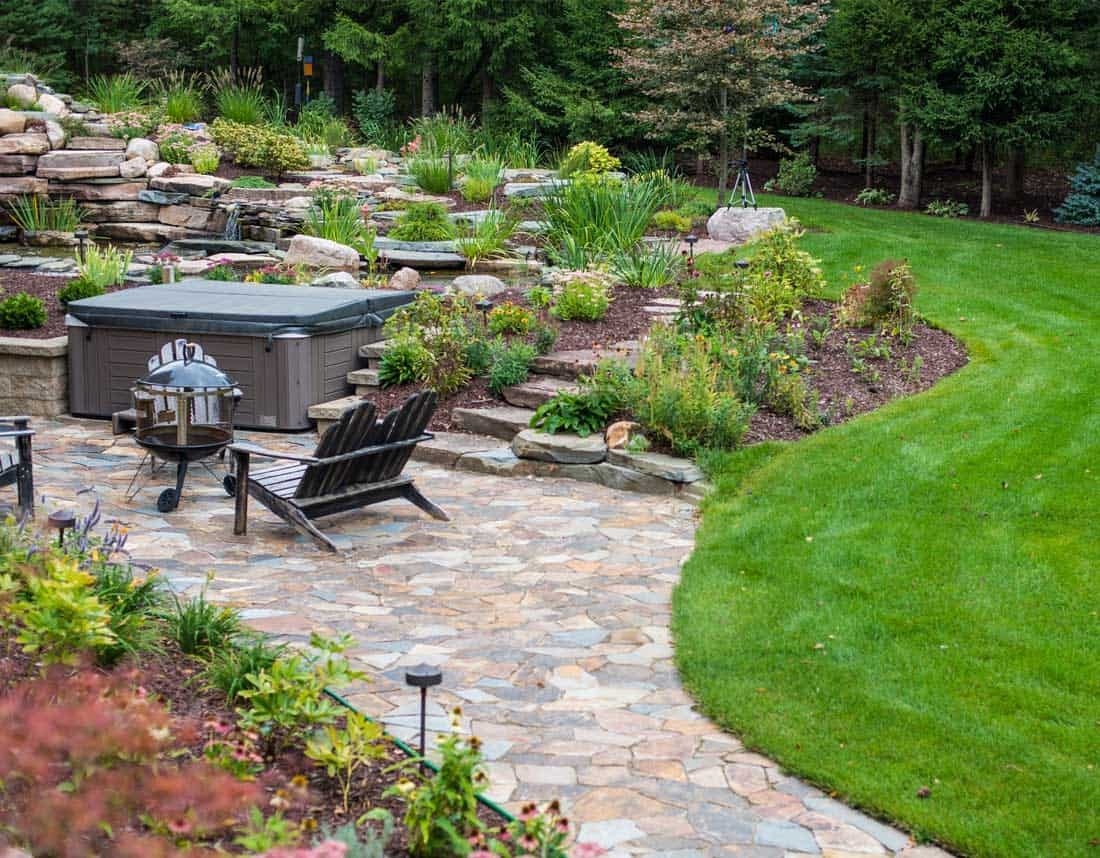 Lotus Gardenscapes -- Backyard Landscape -- Stone Patio and Terraced Garden-- Stone, Wood, Water