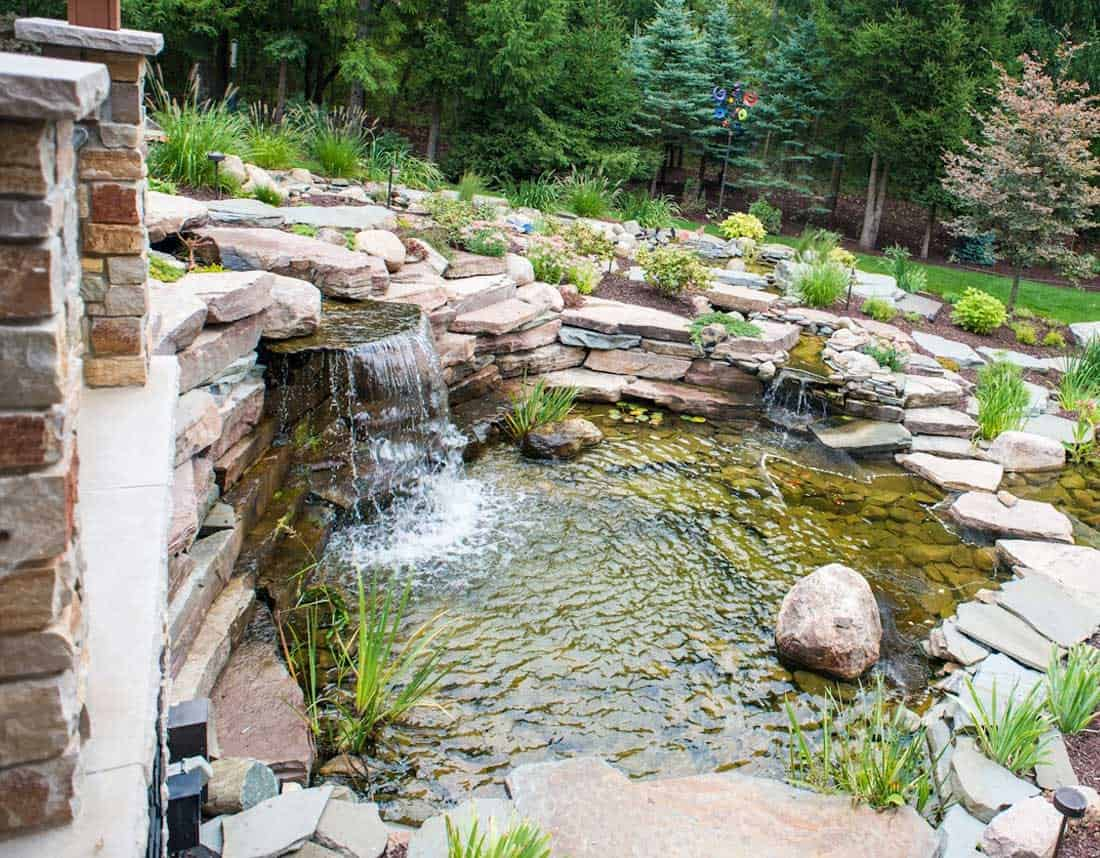 Lotus Gardenscapes -- Backyard Landscape -- Waterfall and Stone Pond -- Stone, Wood, Water