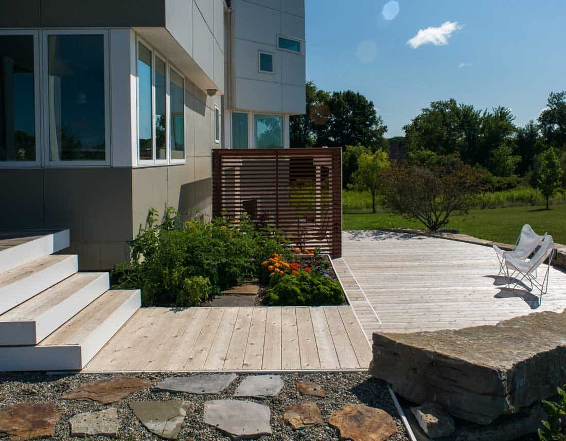 Lotus Gardenscapes -- Contemporary Deck and Pergola -- Project Hardscape, Side View -- Wood