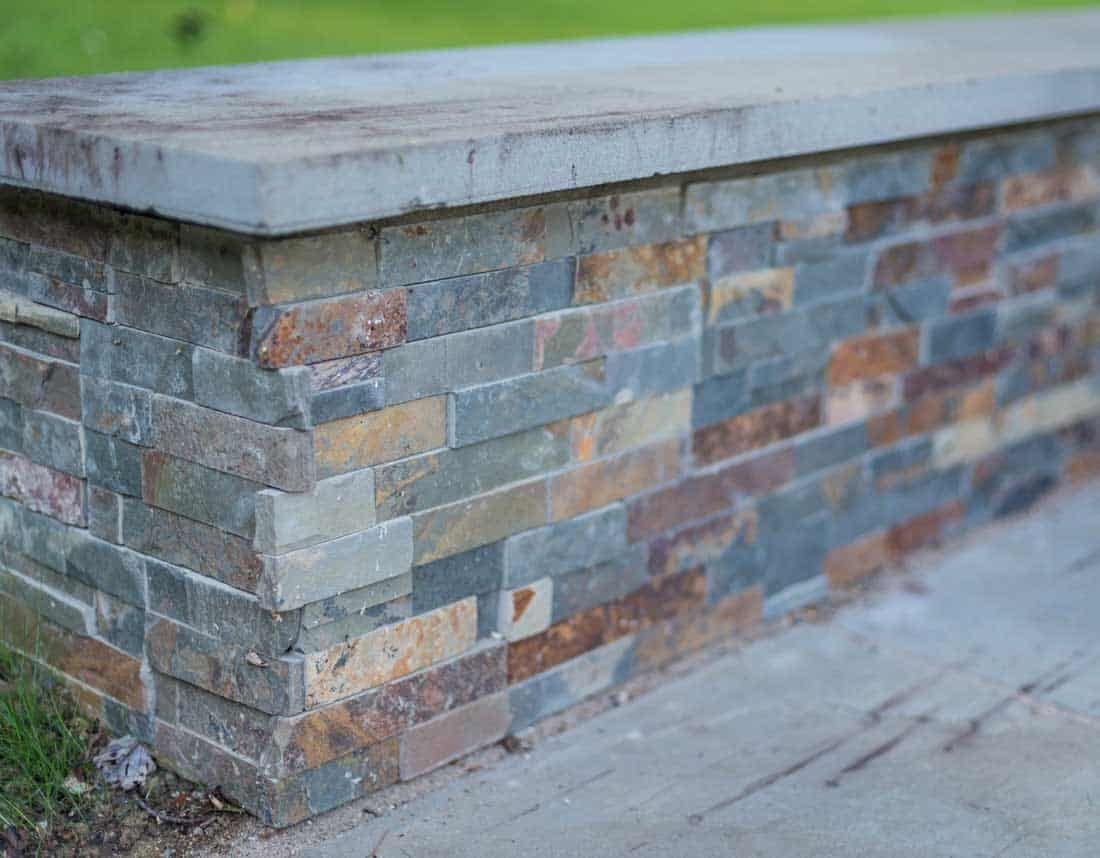 Lotus Gardenscapes -- Contemporary Courtyard and Patio -- Stone Wall, Detail -- Stone, Wood