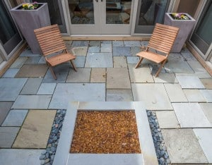 Lotus Gardenscapes -- Contemporary Courtyard and Patio -- Courtyard with Central Planter -- Stone, Wood
