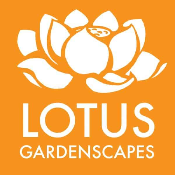 Lotus Gardenscapes -- Main Web Logo, Orange Square, Large