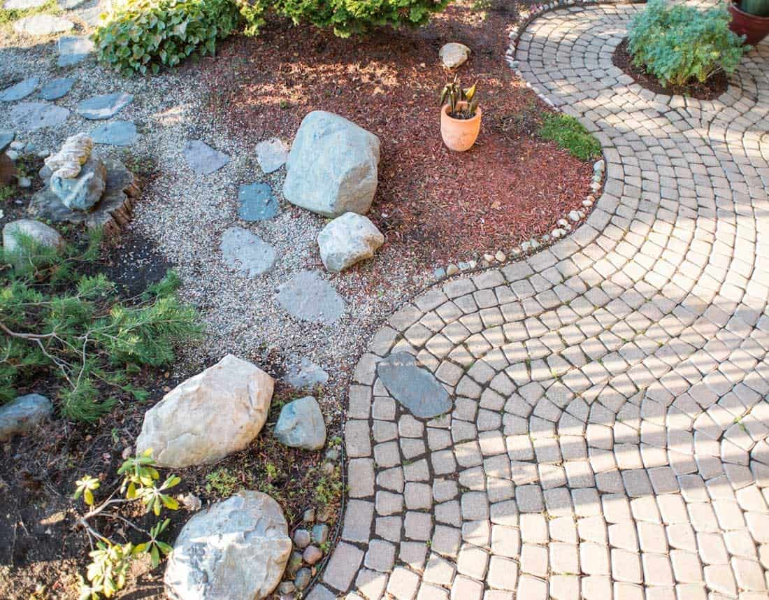 Lotus Gardenscapes -- Patios, Walkways, and Stone Works -- Winding Brick Path and Gardens