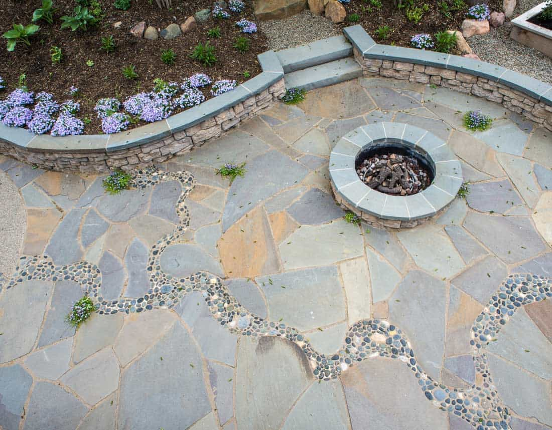 Lotus Gardenscapes -- Artistic Bluestone Patio & Terraced Garden -- Firepit and Patio, Aerial View -- Stone