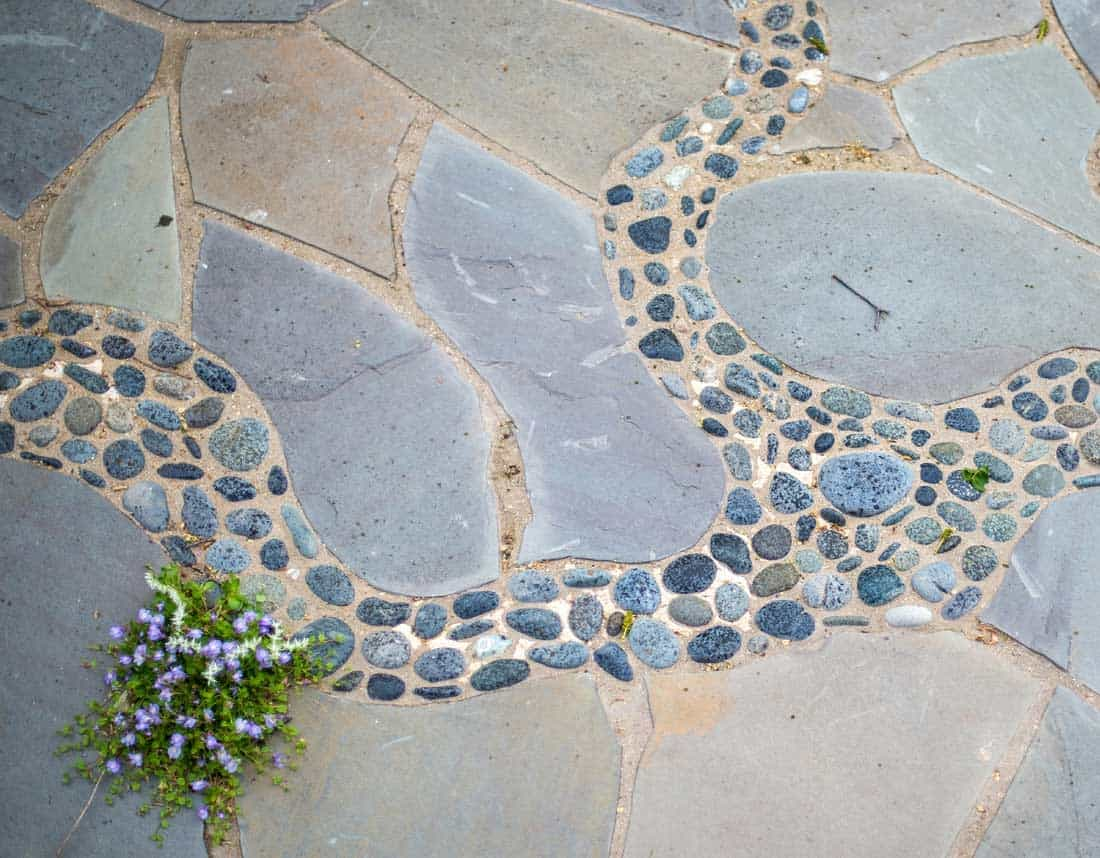 Lotus Gardenscapes -- Patios, Walkways, and Stone Works -- Natural Slab Patio with Pebble Inlay