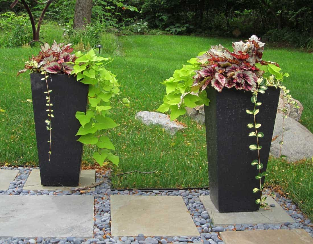 Lotus Gardenscapes -- Modern Firepit and Patio -- Hardscape Planters -- Stone