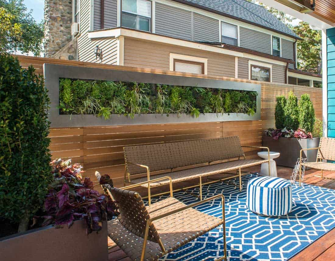Lotus Gardenscapes -- Contemporary Urban Oasis & Green Wall -- Sundeck Green Wall -- Stone, Water