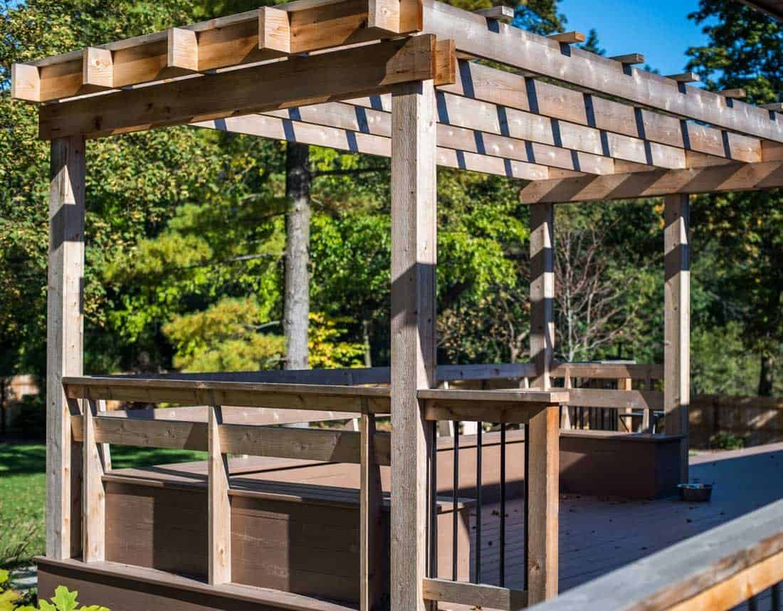 Lotus Gardenscapes -- Woodwork -- Pergola Deck and Bench