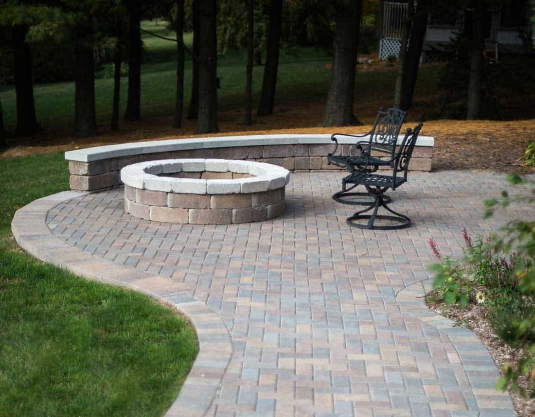 Lotus Gardenscapes -- Patios, Walkways, and Stone Works -- Brick Patio and Stone Firepit