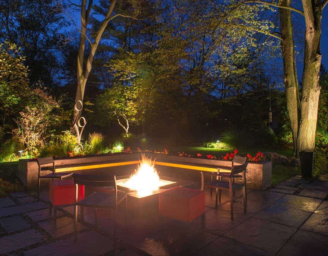 Lotus Gardenscapes -- Modern Firepit and Patio -- Firepit at Night -- Stone