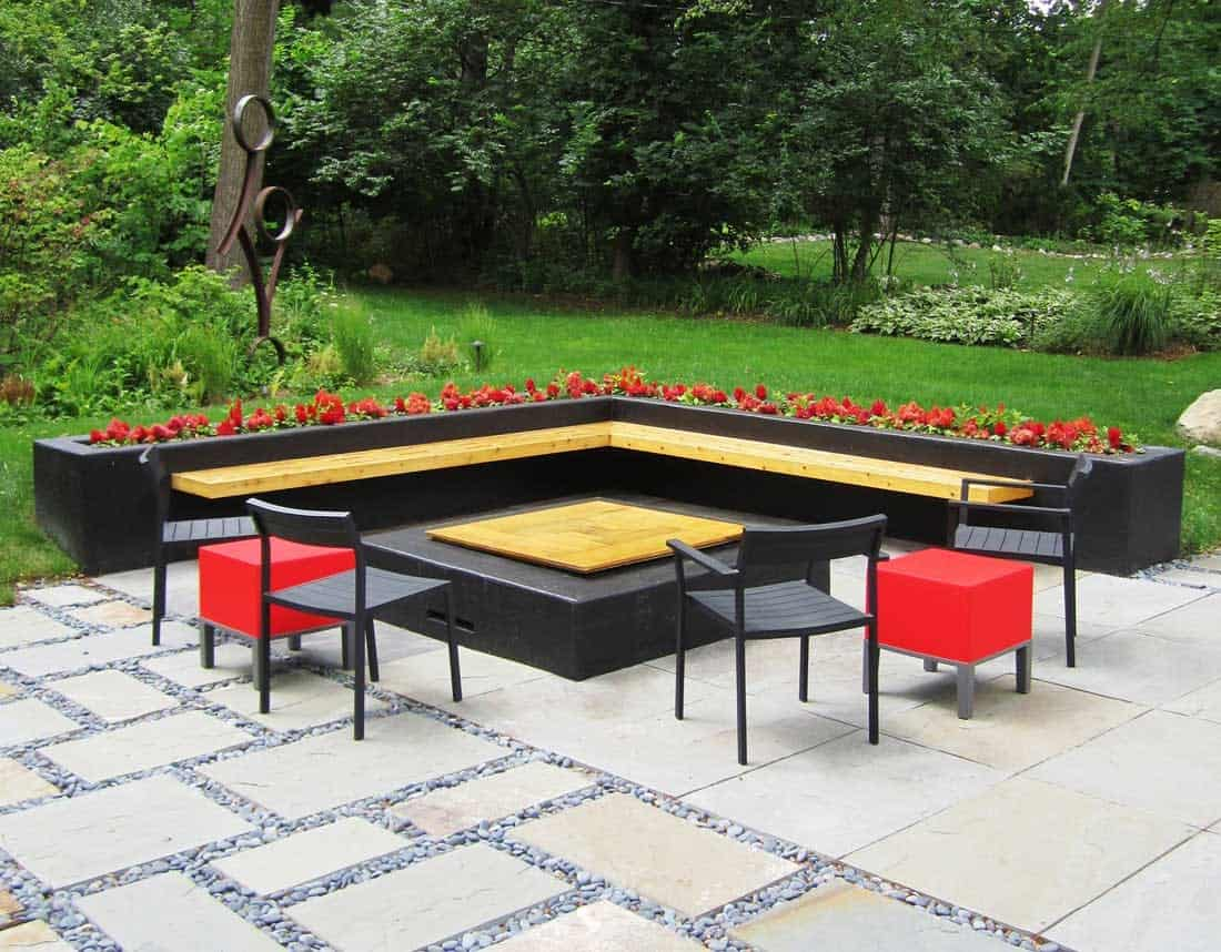 Lotus Gardenscapes -- Modern Firepit and Patio -- Covered Firepit Table -- Stone