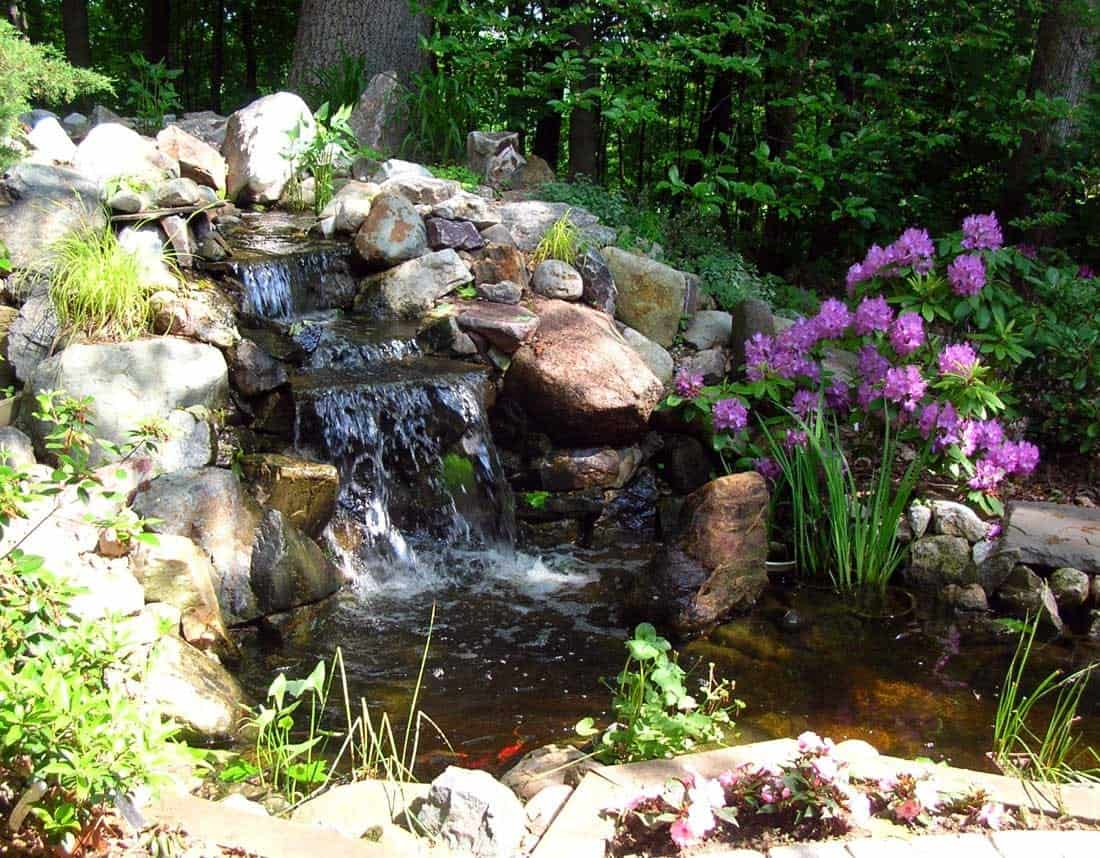 Lotus Gardenscapes -- Water Features -- Stone Waterfall into Pond