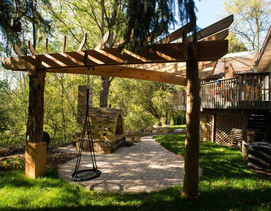 Lotus Gardenscapes -- A Potter's Playground -- Pergola and Swing -- Stone, Wood