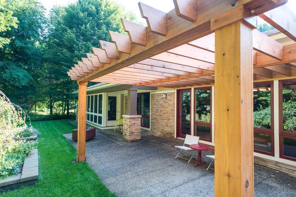 Lotus Gardenscapes -- Knotty Cedar Pergola -- Pergola with House and Patio -- Wood